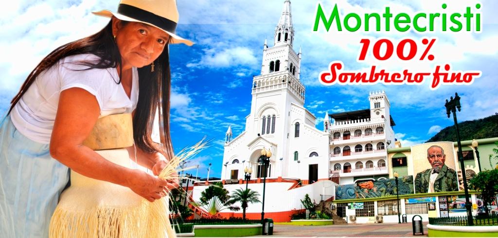 Tejedora de sombreros de paja toquilla, Basílica de la Virgen de Monserrate y el mural del expresidente Eloy Alfaro. Montecristi, Ecuador.