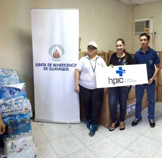 Entrega - recepción de donaciones internacionales para damnificados del terremoto del 16 de abril en Calceta. Manabí, Ecuador.