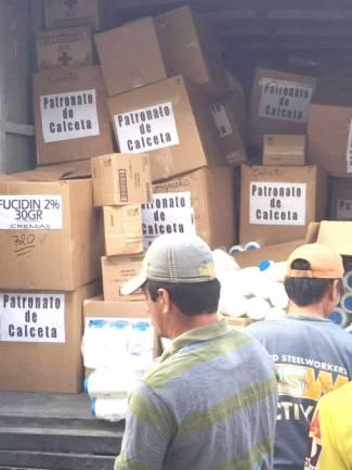 Donación internacional canalizada para damnificados del terremoto, en Calceta, por la Junta de Beneficencia de Guayaquil. Manabí, Ecuador.