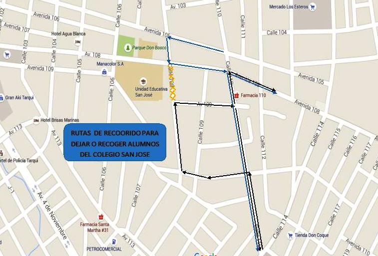 Mapa vial alrededor UE San José, Manta