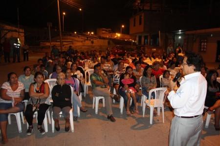 Alcalde de Manta expone su gestión en el Barrio Miraflores. Manabí, Ecuador.