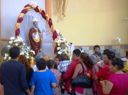 Honores a San Agustín en el templo de Calceta, Cantón Bolívar. Manabí, Ecuador.