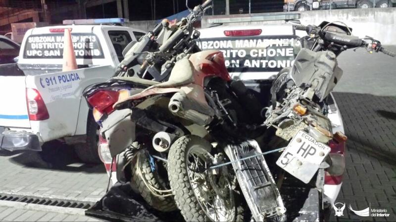Motocicletas recuperadas en Chone por la Policía nacional. Manabí, Ecuador.