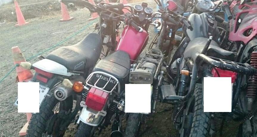 Motocicletas recuperadas por la Policía nacional en Manta. Manabí, Ecuador.