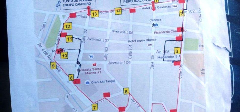"""Plano de la """"zona cero"""" devastada en Tarqui, Manta. Manabí, Ecuador."""