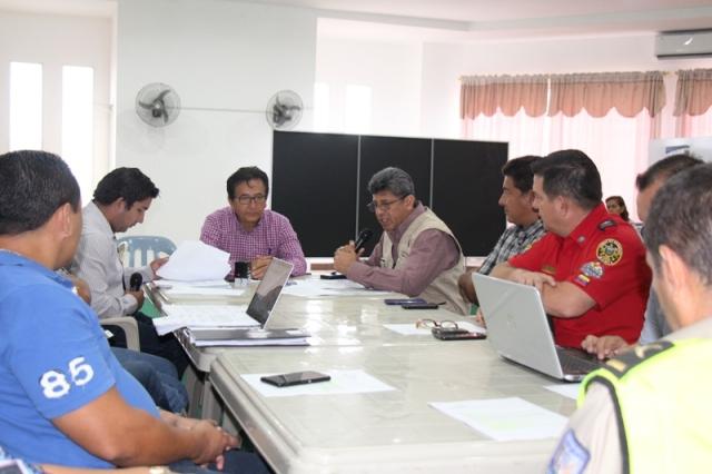 Reunión del COE cantonal de Manta con el subsecretario del MTOP. Manabí, Ecuador.