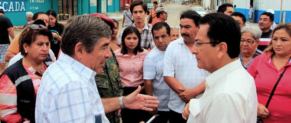 Alcalde de Manta inspecciona la reconstrucción de Tarqui. Manabí, Ecuador.
