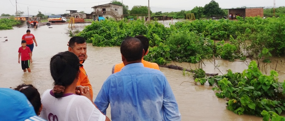 Inundación en un sitio del Cantón Montecristi. Manabí, Ecuador.