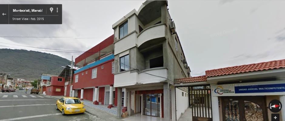 Edificio donde funciona el Registro de la Propiedad de Montecristi. Foto: Captura de pantalla, tomada de Google Maps.
