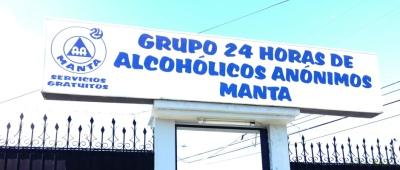 """Fachada del """"Grupo 24 Horas Alcohólicos Anónimos Manta"""". Manabí, Ecuador."""