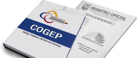 Portada del Código Orgánico General de Procesos, COGEP. Manabí, Ecuador.