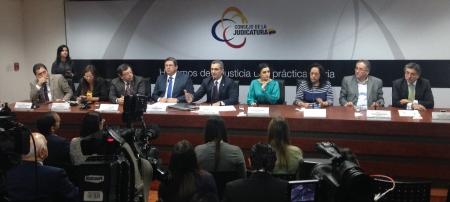Mesa de Justicia del Consejo Nacional de la Judicatura. Quito, Ecuador.