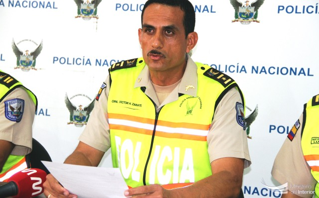 Víctor Zárate, comandante del Distrito Policial Manta. Manabí, Ecuador.