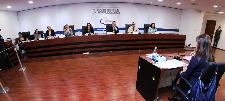 El Consejo Nacional de la Judicatura preside la audiencia de impugnaciones previa a la renovación parcial de la Corte Nacional de Justicia, Quito.