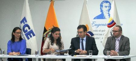 Desde la izquierda: Vanessa Robayo, Rosana Alvarado, Fander Falconí y Tomás Alvear. Quito, Ecuador.