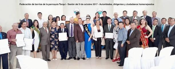 Personalidades de Manta, reunidas en Tarqui para celebrar el aniversario 88 de esta parroquia, el 9 de octubre de 2017.