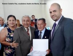 El autor del artículo, Joselías Sánchez (2do de izq. a der.), con don Ramón Cedeño Paz (homenajeado); la hija de éste, Gabriela; y el concejal Fernando Pico Arteaga.