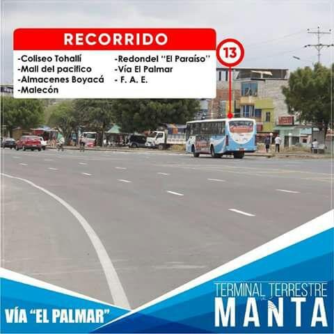 Recorrido autobuses línea 13, Manta