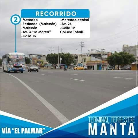 Recorrido autobuses línea 2, Manta
