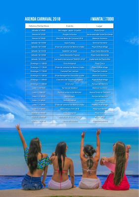 Agenda completa o programa de carnaval 2018 de Manta.