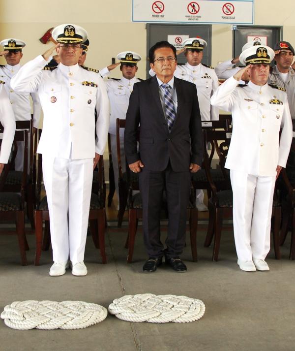 Ceremonia de relevo de mando en la Comandancia de la Estación Aeronaval de la Armada ecuatoriana en Manta. Manabí, Ecuador.