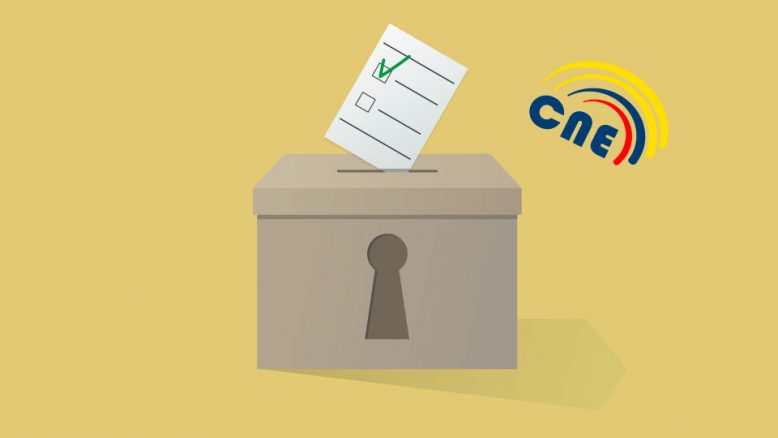 Arte publicitario simulando urna receptora de votos, con logotipo del CNE. Ecuador.