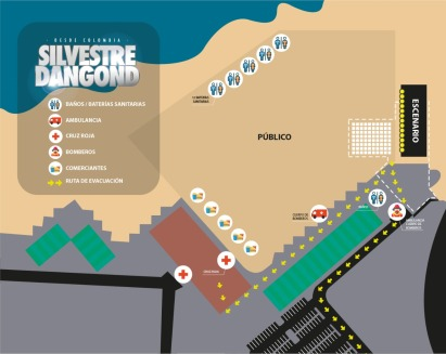 Croquis que muestra cómo se ha dispuesto la organización en el espacio de la Playa El Murciélago donde tendrá lugar el show con Silvestre Dangond.