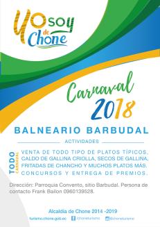 Arte publicitario carnaval 2018 Chone, BARBUDAL