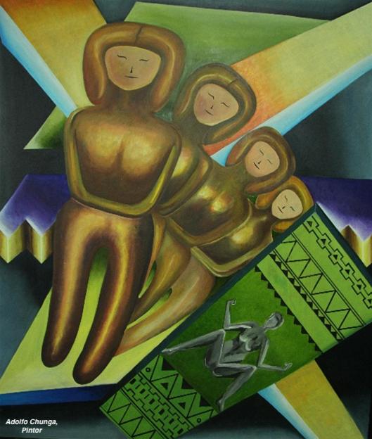 Cuadro pictórico de Adolfo Chunga, en la exposición colectiva Arte en Acción, Manta. Manabí, Ecuador.