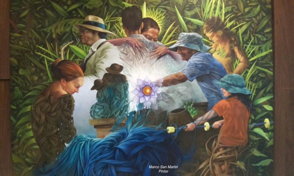 Pintura de Marco San Martín, expuesta en Arte en Acción, Manta. Manabí, Ecuador.