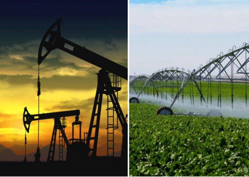 Composición fotográfica con dos imágenes: una de industria petrolera y otra de agroindustria.