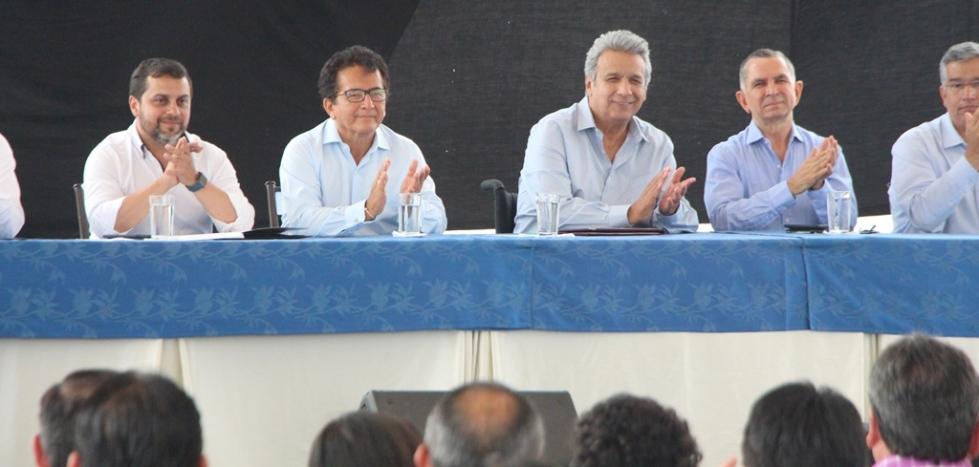 El presidente ecuatoriano Lenín Moreno, en una ceremonia oficial en el puerto de Manta. Manabí, Ecuador.