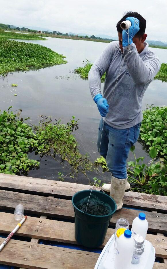 Obtienen muestras del agua contenida en el Humedal La Segua de Chone. Manabí, Ecuador.