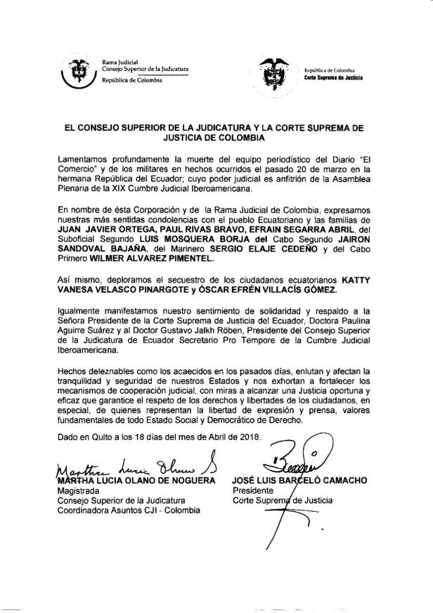Acuerdo de solidaridad con Ecuador, de la Justicia de Colombia