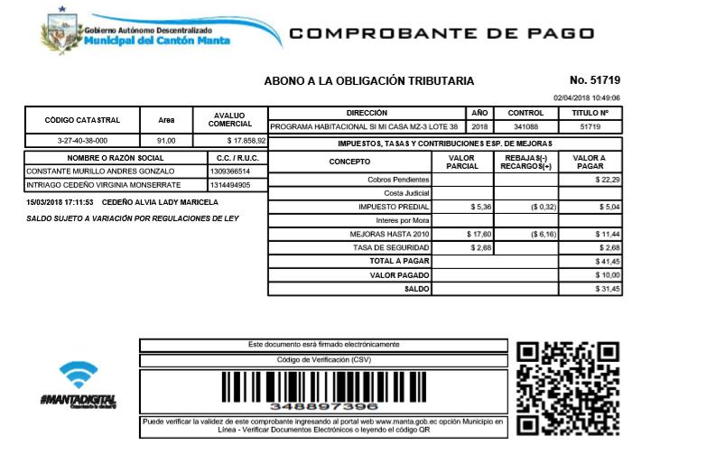 Municipio De Manta Emite Comprobantes Pago Va Internet