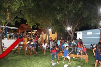 El área para diversión de los niños.