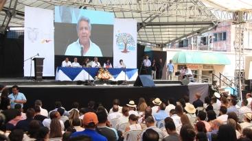 El instante cuando habla el presidente Lenín Moreno.