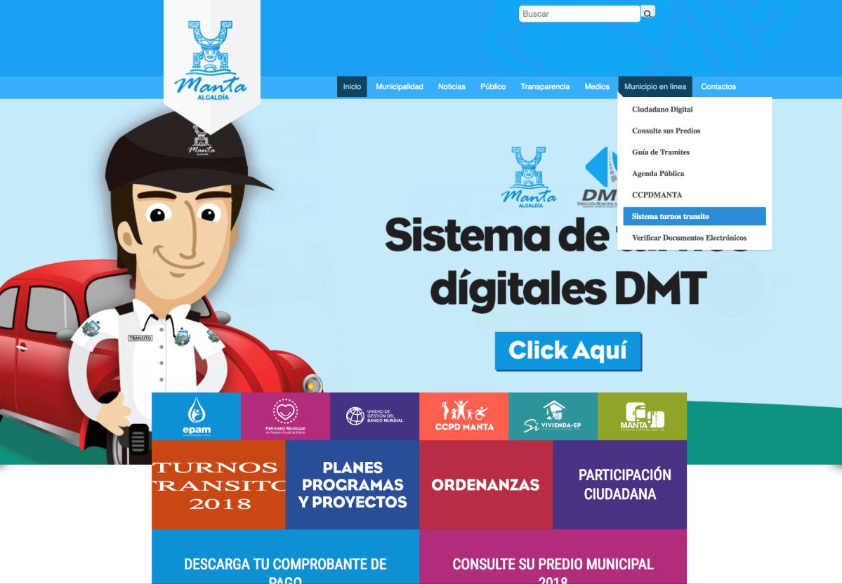 Turnos por internet para matricular vehículos en Manta
