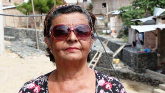 La lideresa de la comunidad en el Barrio 9 de Octubre de Manta.