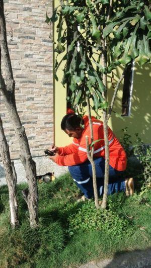 Toma de lectura de un medidor de agua potable en el domicilio de un usuario particular, en Manta. Manabí, Ecuador.