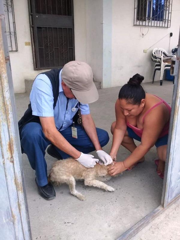 Un brigadista del Distrito de Salud de Jaramijó, Manta y Montecristi vacuna a un perro mascota. Manabí, Ecuador.