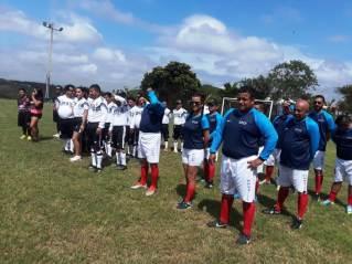 Los equipos participantes, en la ceremonia inaugural.