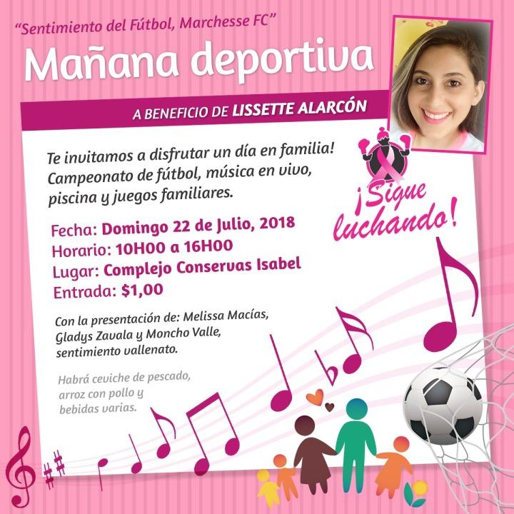 Lissette Alarcón Mieles, invitación evento a su favor
