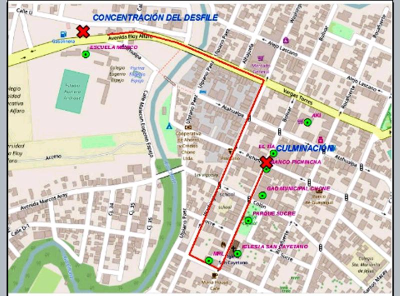 Mapa recorrido desfile Chone