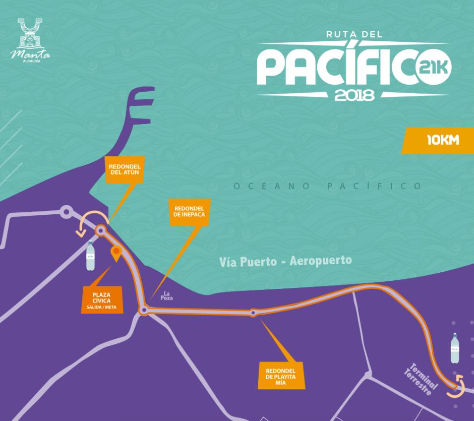 Croquis del recorrido de 10 km que seguirá la carrera pedestre Ruta del Pacífico 2018 en la ciudad de Manta. Manabí, Ecuador.