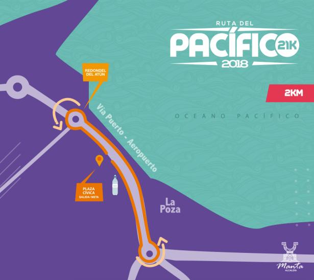 Croquis del recorrido de 2 km de la carrera pedestre Ruta del Pacífico 2018 en la ciudad de Manta. Manabí, Ecuador.