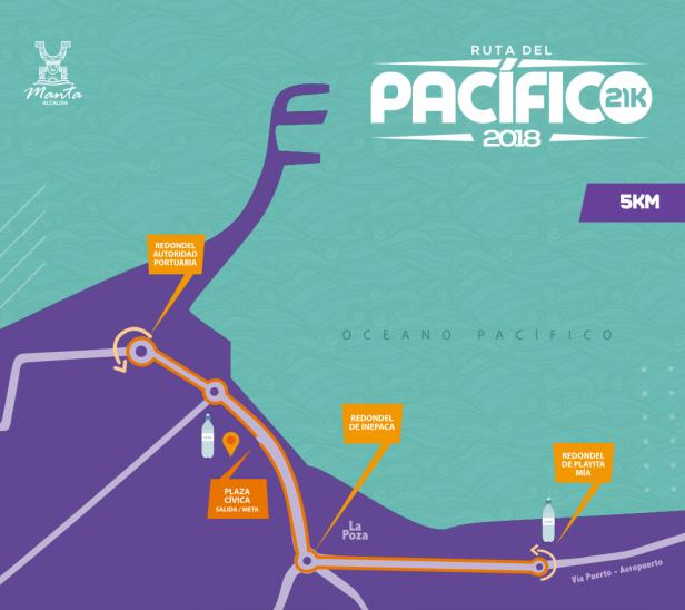 Croquis del recorrido que seguirá la carrera pedestre de 5 km Ruta del Pacíficio 2018 en la ciudad de Manta. Manabí, Ecuador.