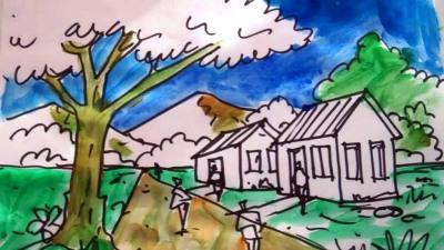 Dibujo con una perspectiva rural. Autor: David Sosa. Tomado del banco de imágenes de Google.