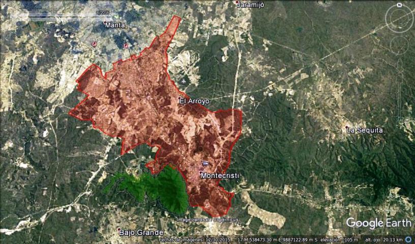 Mapa que señala el área de la reciente expansión de la ciudad de Montecristi. Manabí, Ecuador.