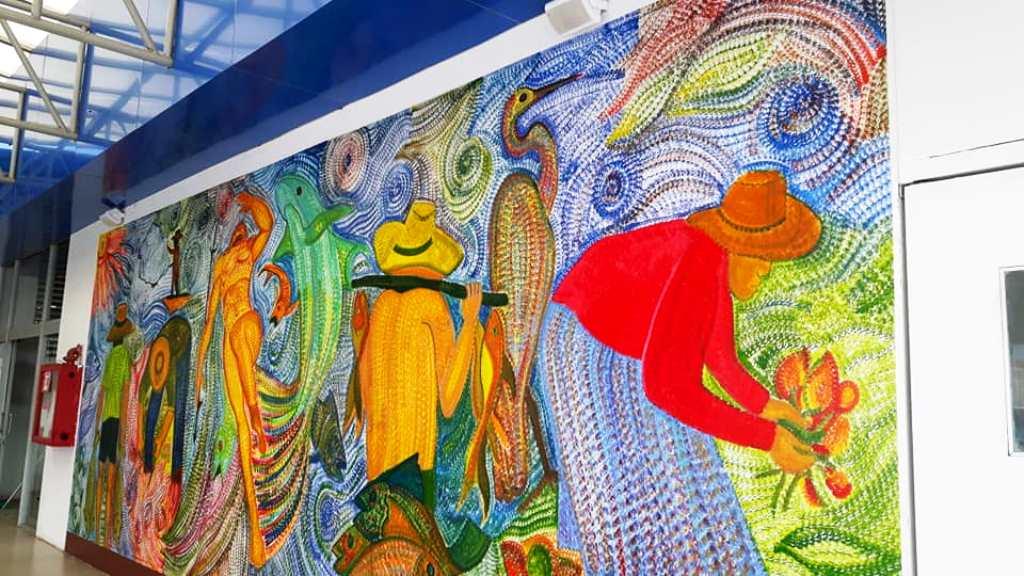 Mural de Gabriel Calle Arango (Colombia), pintado en el Mercado Los Esteros de Manta. Manabí, Ecuador.